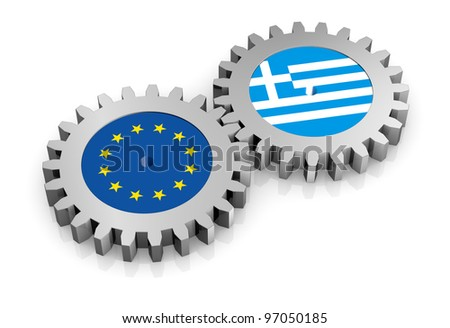 two gears with the flags of europe and greece (3d render)