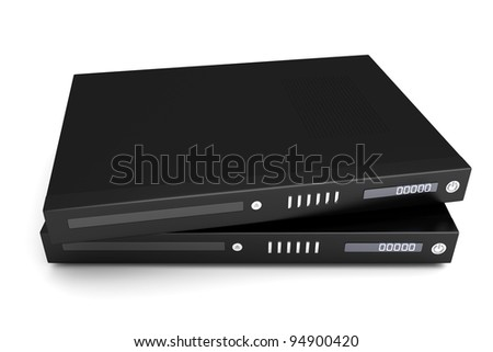 Two generic bluray / DVD devices. 3D rendered Illustration. - stock photo