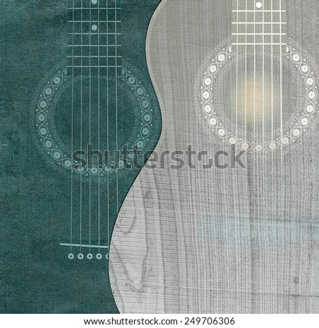 Two gently silhouettes of guitars - stock photo
