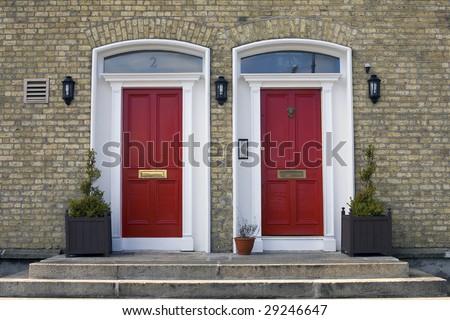 Two Georgian Doors, Dublin Ireland. - stock photo
