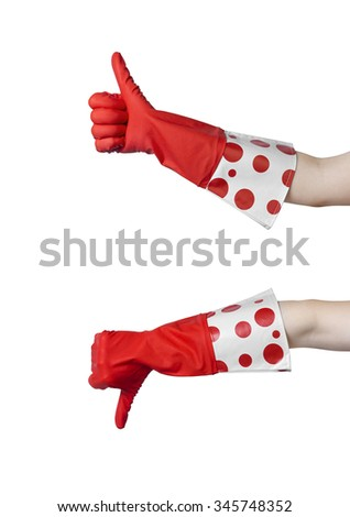 Two gesturing hands  in red rubber glove expressing yes and no isolated on white background - stock photo