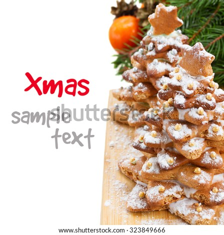 two gingerbread christmas tree border  isolated on white background - stock photo