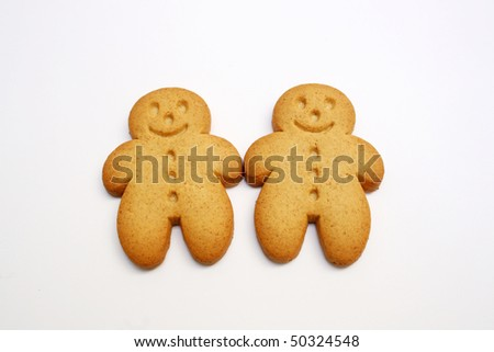 two gingerbread cookies for a friendship and love concept
