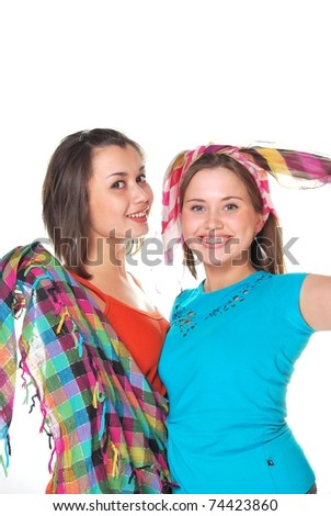 two girls - stock photo