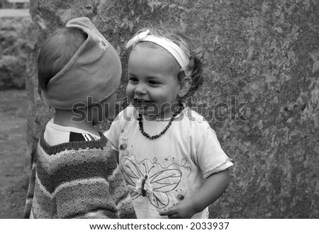 two girls become acquainted together - stock photo