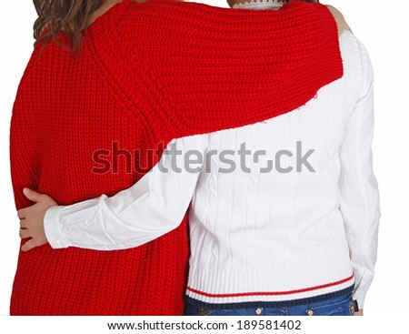 Two girls embracing. Back view. - stock photo