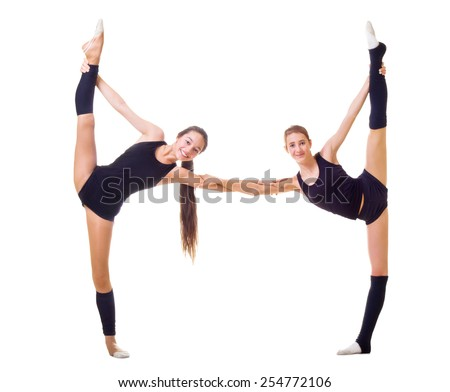 Two girls engaged art gymnastic isolated