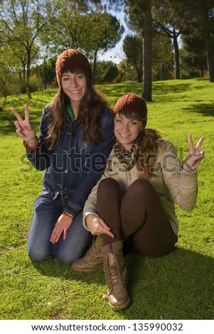 two girls happy, relaxed