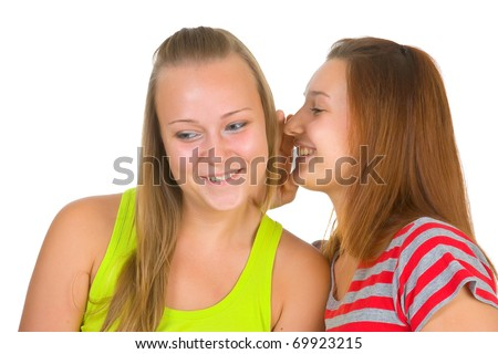 Two girls isolated on white background