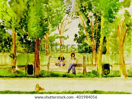 Two girls sitting on a bench in a park on a sunny summer day. Drawing watercolor - stock photo