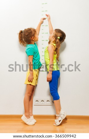 Two girls stretch up with hand on scale