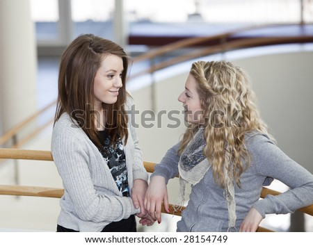 two girls talking