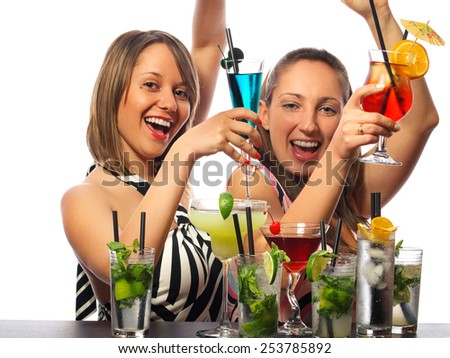 Two girls with a lot of cocktails