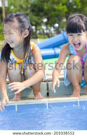 two girls with swimsuit bathing