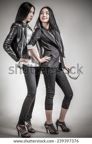 Two glamour girls Indoors shot - stock photo