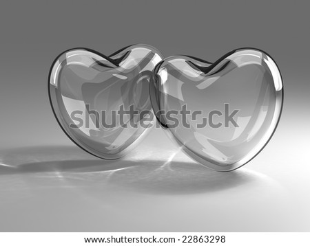 Two glass hearts - stock photo