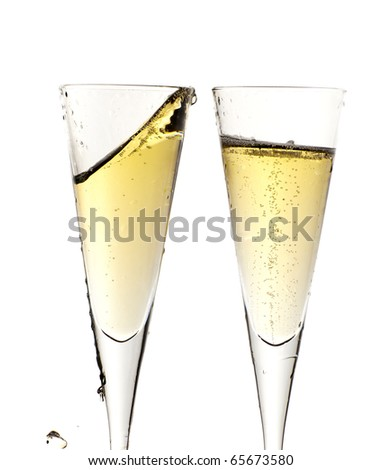 Two glass of champagne isolated