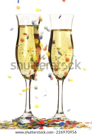 two glass of champagne, new year's eve  - stock photo