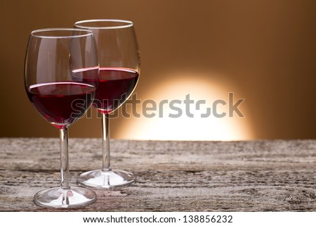 two glass of red wine - stock photo