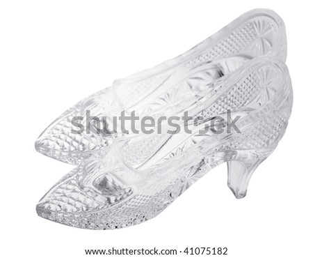 two glass woman shoes isolated on white background - stock photo