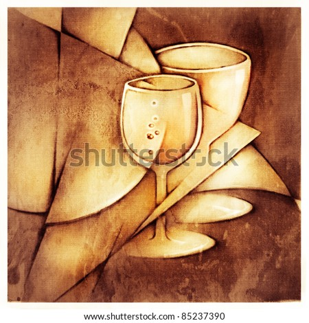 two glasses, decorative stylized artistic painting - stock photo