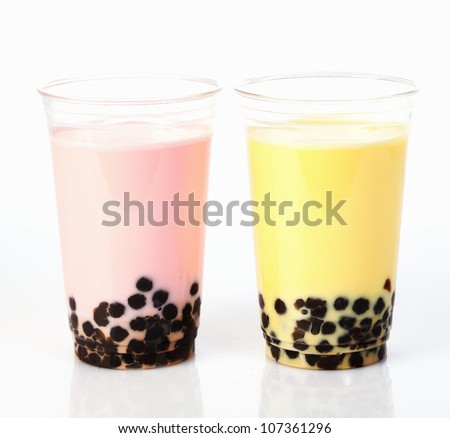 Two Glasses delicious Bubble Tea isolated on white background - stock photo