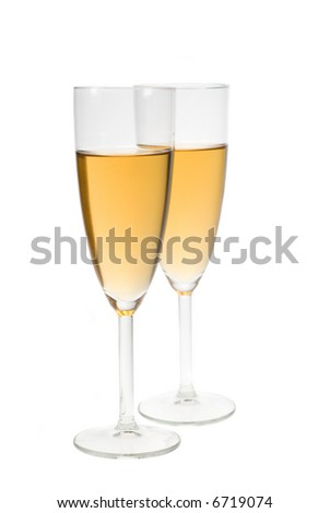 two glasses filled with champagne isolated on a white background