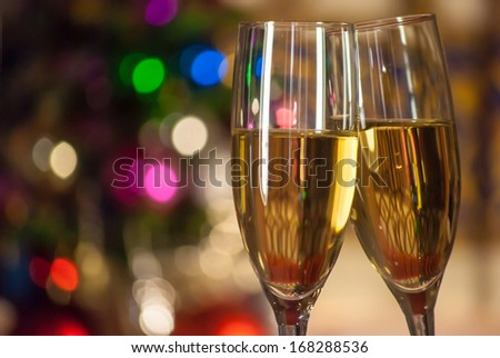two glasses filled with wine - stock photo