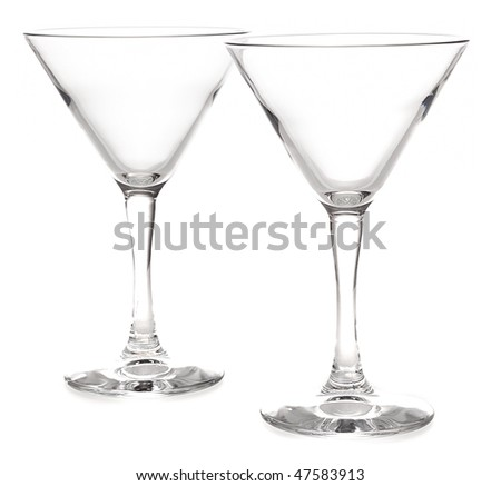 two glasses for cocktails on a white background - stock photo