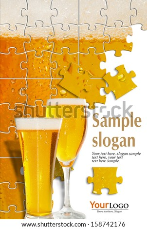 two glasses of beer have more than enough white bottom and example texts     - stock photo