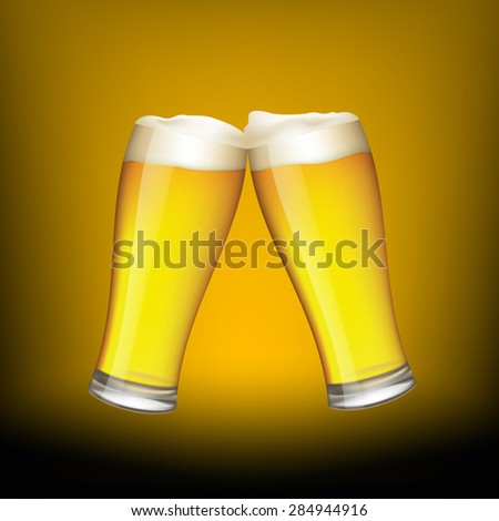 Two glasses of beer on dark background