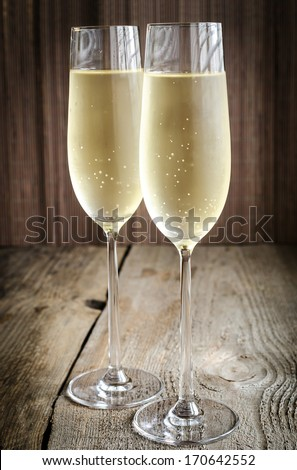 Two glasses of champagne - stock photo
