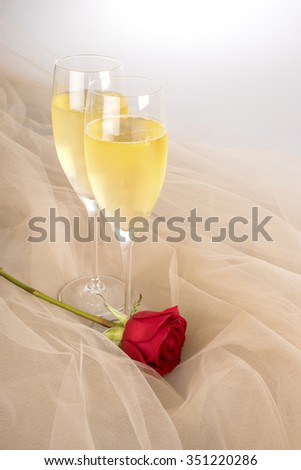 Two Glasses of Champagne and a Single Red Rose on Tulle Fabric Backlit - stock photo