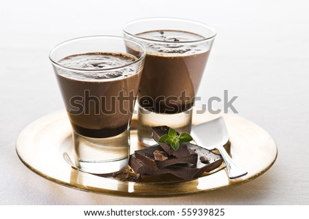 Two glasses of chocolate milkshake close up shoot - stock photo