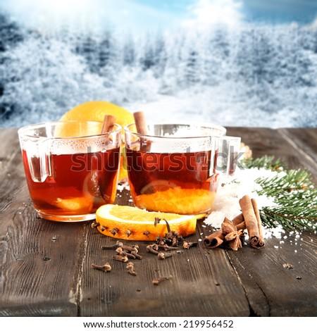 two glasses of tea  - stock photo