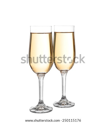 Two glasses with champagne. Isolated on white with clipping path.