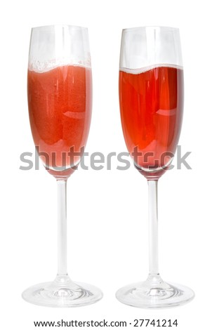 two glasses with cocktails isolated on white