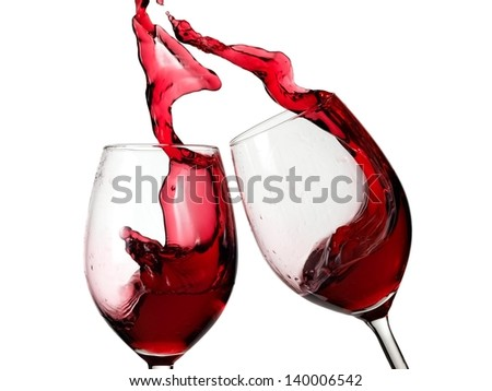 Two glasses with red wine up