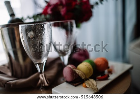 two glasses with water droplets