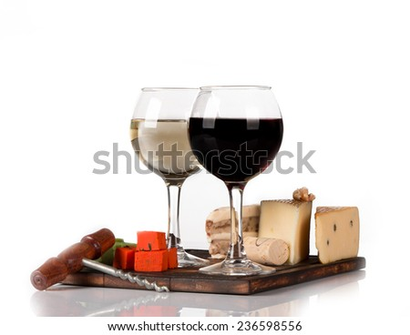 Two glasses with wine on white background  - stock photo
