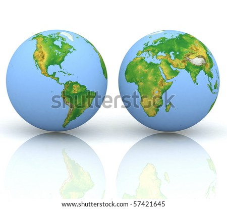 Two  globes of Earth, isolated on a white - stock photo
