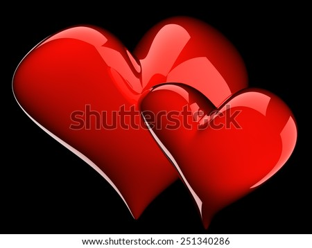 two glossy red hearts isolated on black - stock photo