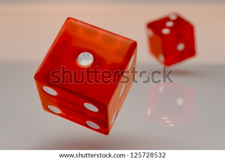 Two glossy red plastic rolling dices showing numbers one and three, closeup - stock photo