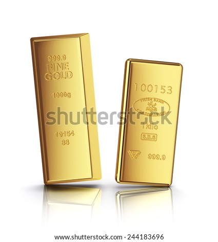 two gold bars with reflection on white background - stock photo