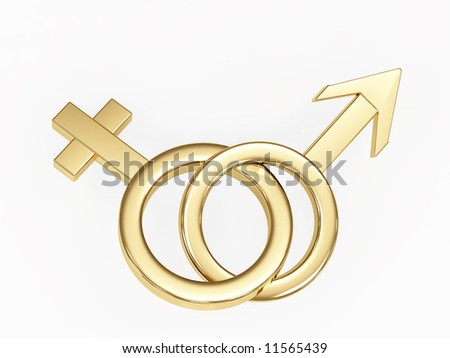 Two gold 3d symbols  - male and female. Objects over white
