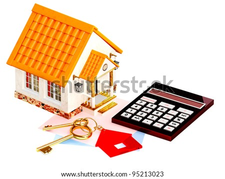 Two gold keys, house and calculator. Objects isolated over white - stock photo