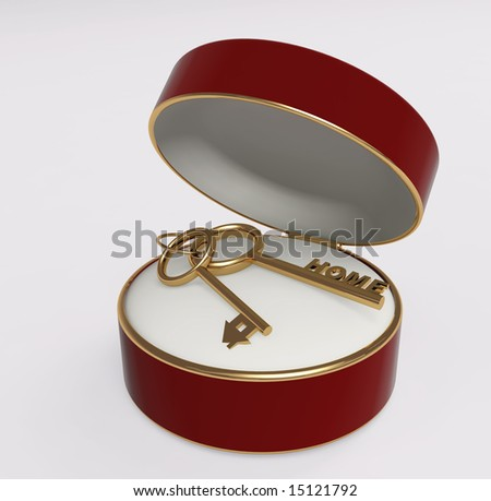 Two gold keys in a satiny box. Object over white - stock photo