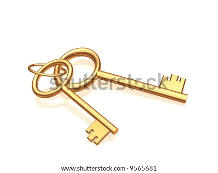 Two gold keys on a glossy white background. Objects over white - stock photo