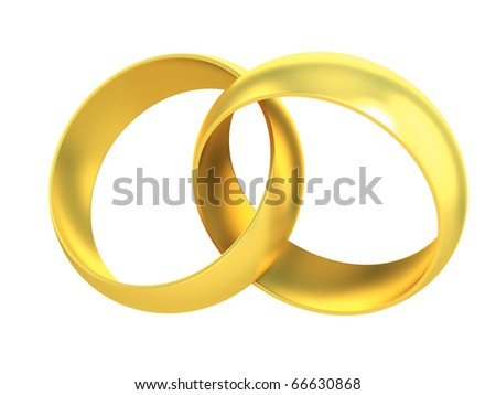 two gold rings crossed symbolizing marriage - stock photo