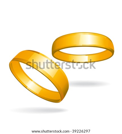 Two gold rings illustration. - stock photo